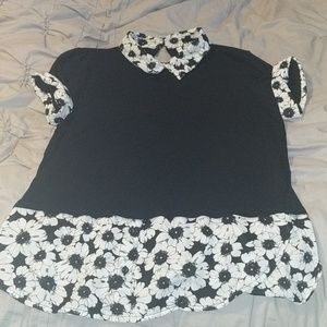 Black blouse with floral detail